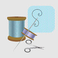 Sewing kit bobbin and spool of thread Royalty Free Stock Photo