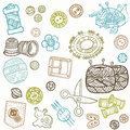 Sewing Kit Doodles Stock Photo