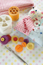 Sewing kit needles and threads with a pin cushion Royalty Free Stock Image