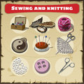 Sewing and knitting set Royalty Free Stock Photo