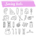 Sewing and knitting tools doodle icon set