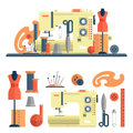 Sewing machine, accessories for dressmaking and handmade fashion. Vector set of flat icons, isolated design elements