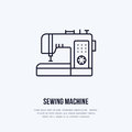 Sewing machine flat line icon, logo. Vector illustration of tailor supplies for hand made shop or dressmaking service Royalty Free Stock Photo