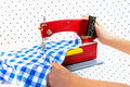 Sewing machine and hand Royalty Free Stock Photo