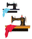 Sewing machine silhouette and design with pattern Stock Photography