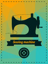 Sewing machine vector illustration with Royalty Free Stock Images