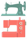 Sewing machines retro and modern isolated on white Stock Photos