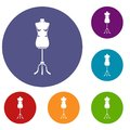 Sewing mannequin icons set