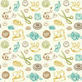 Sewing and needlework doodles seamless pattern vector Royalty Free Stock Photography