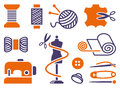 Sewing and needlework icons Royalty Free Stock Images