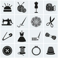 Sewing and needlework icons. Vector set. Royalty Free Stock Photo