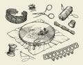 Sewing notions, macrame. Hand drawn embroidery hoop, thread, needle, thimble, beading, beadwork, needlework. Vector Royalty Free Stock Photo