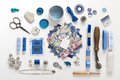 Sewing objects a collection needle work accessories in blue on white background Stock Photos