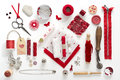 Sewing objects a collection needle work accessories in red on white background Stock Image