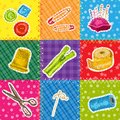 Sewing patchworks set sketch with hobby needlework tools isolated vector illustration Royalty Free Stock Photo