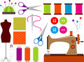 Sewing set colorful clip art Royalty Free Stock Images