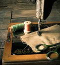 Sewing sewing machine and tools the Royalty Free Stock Photography