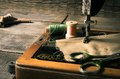 Sewing sewing machine and tools the Royalty Free Stock Images