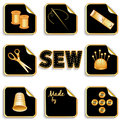 Sewing stickers gold for tailoring dressmaking needlework handmade homemade and do it yourself projects needle thread scissors pin Stock Image