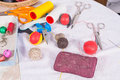 Sewing still life Royalty Free Stock Photo