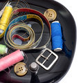 Sewing supplies and items on a black tray Stock Photography