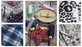 Sewing supplies and samples of fabric collage with Stock Photography
