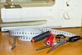 Sewing things with sewing machine Royalty Free Stock Photo