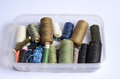 Sewing threads in the box Stock Photos