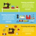 Sewing tools banner horizontal set, flat style