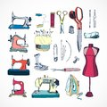 Sewing tools kit colored hand drawn illustrations Stock Photography