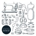 Sewing tools and tailor equipment set. Vector sketch illustration. Craft and handmade sew needlework design elements