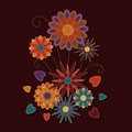 Sewn flower graphic abstract illustration of a bundle of flowers Royalty Free Stock Photos