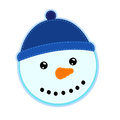 Sewn snowman in bobble hat closeup of handmade white background Royalty Free Stock Image