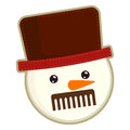 Sewn snowman in top hat handicraft isolated on white background Stock Photography