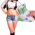 Sex for money paying in cash Royalty Free Stock Photo