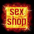 Sex Shop Fire Banner Royalty Free Stock Photo