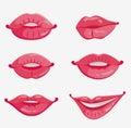 Sex of six pink female lips