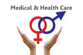 Sex symbol for medical and healthcare concept male female symbols combination Stock Photo