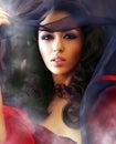 Sexig rökkvinna för härliga klubbor Fotografering för Bildbyråer