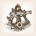 Sextant sketch style vector illustration
