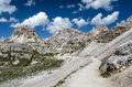 Sexten dolomites in south tyrol italy landscape with mountain range northern Royalty Free Stock Image
