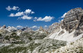 Sexten dolomites in south tyrol italy landscape with mountain range northern Royalty Free Stock Images