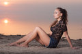 Sexual beauty young woman on the beach at sunset Stock Images