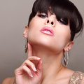Sexual glamour bright makeup woman hair style with fringe manicure nails closeup Royalty Free Stock Photo
