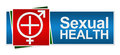 Sexual health red green blue banner symbol in white with medical cross and male female symbol Royalty Free Stock Photo