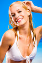 Sexual warm woman in bikini Stock Photos