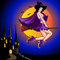 Sexual witch , flying on broom against Stock Photo