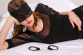 Sexual woman wearing eye cover Royalty Free Stock Photo