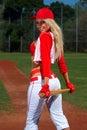 Sexy baseball girl Stock Photography