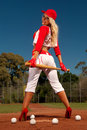 Sexy baseball girl Stock Photography